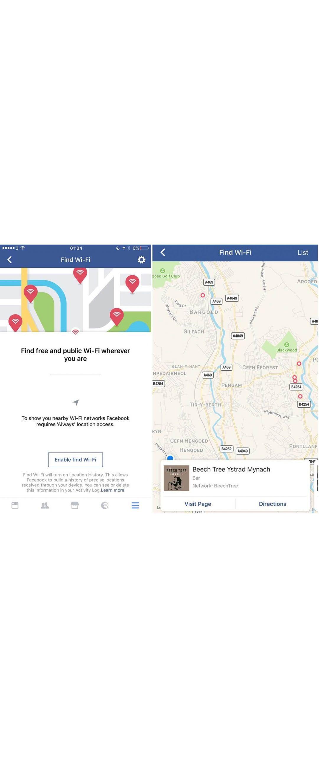 Facebook te permitirá buscar lugares con Wi-Fi público y gratuito