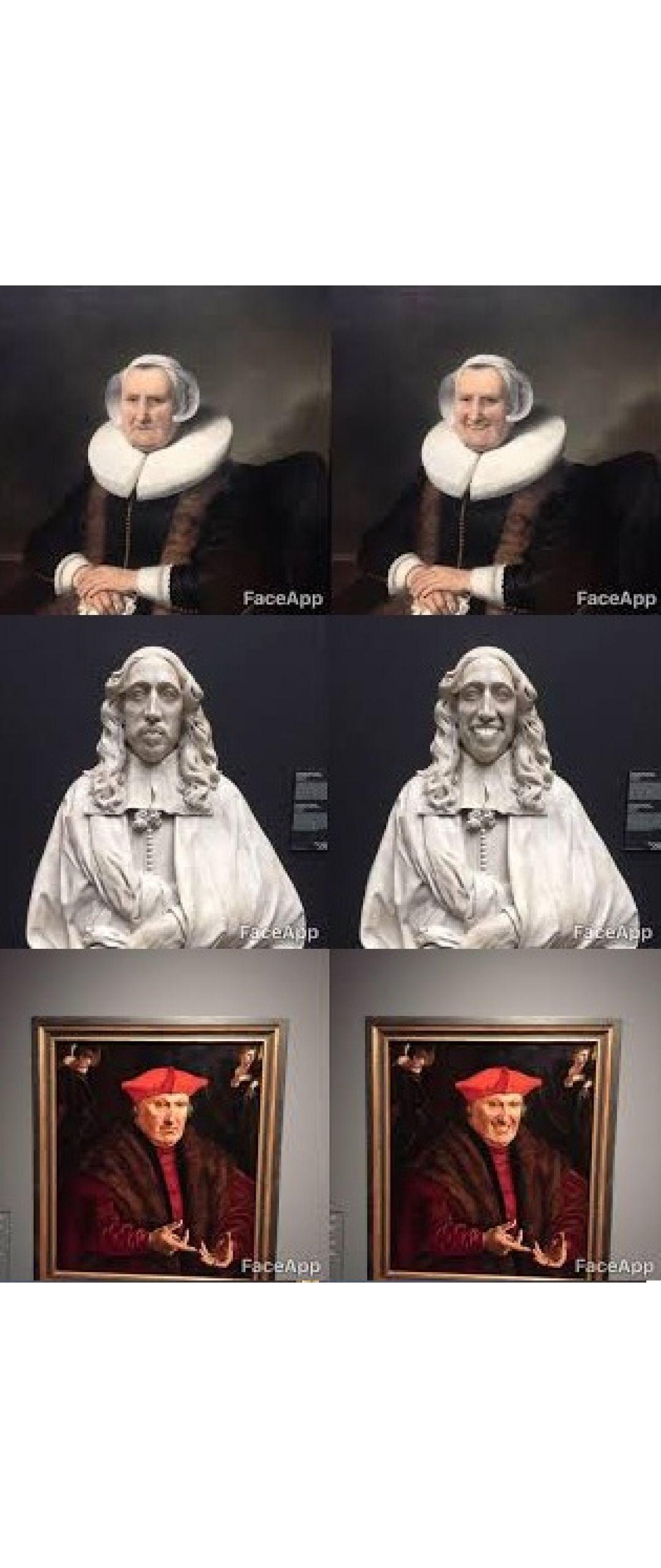 Este es el mejor uso que se le puede dar a FaceApp: Sonrisas en obras de arte