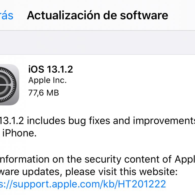 Apple: iOS 13.1.2 ya se encuentra disponible para los usuarios