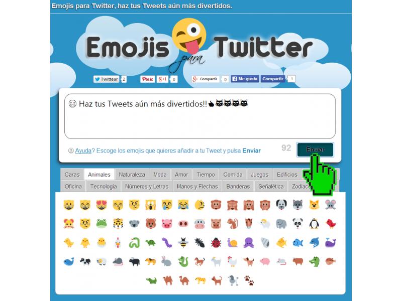 Desde la web permite enviar emojis a Twitter